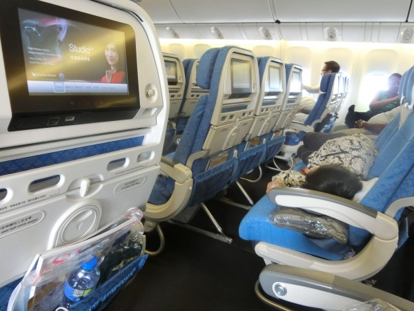 Asleep on Cathay flight