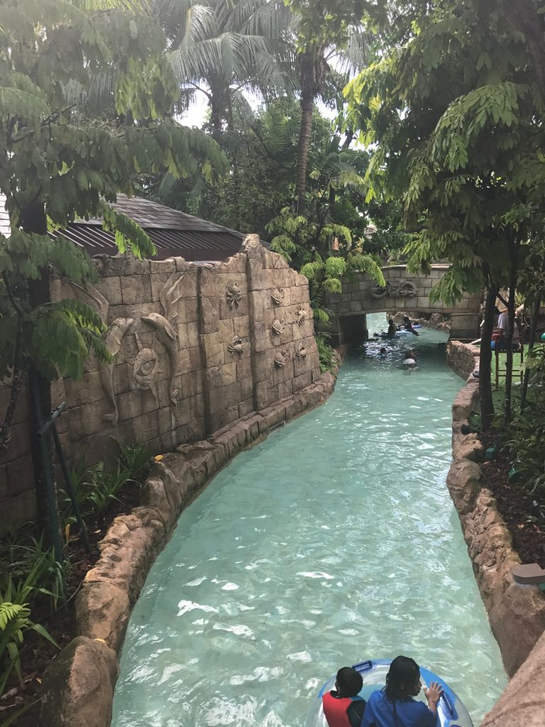 in rubber ring on lazy river at Adventure cove