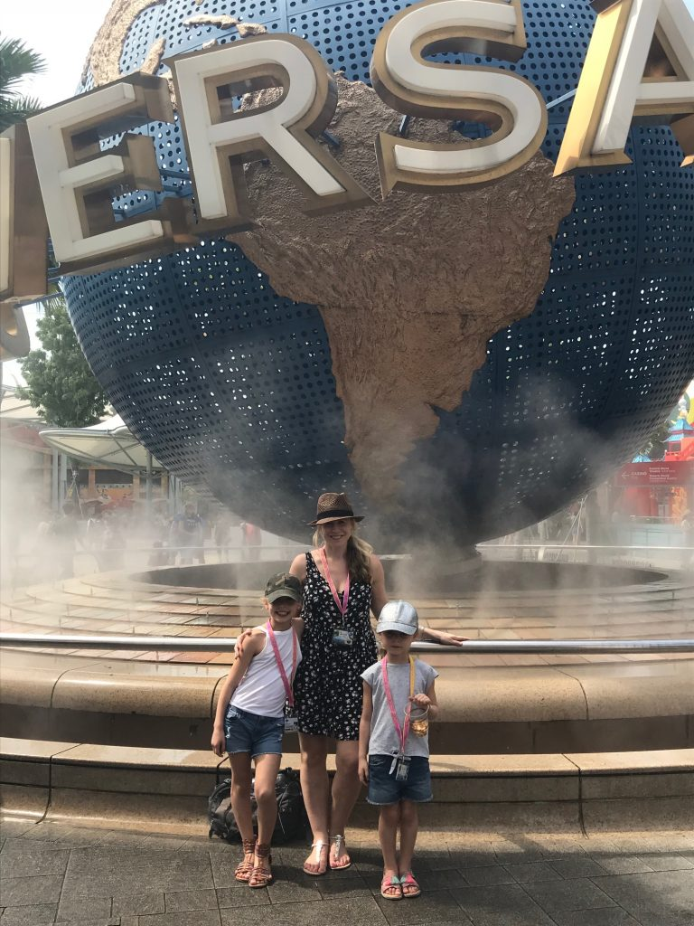 photo of us outside Universal Studios Singapore