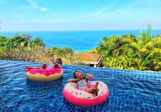inflatables in pool at Baan Bon Khao, Phuket