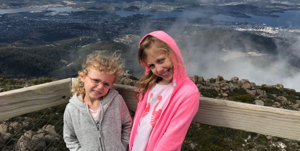photo of girls on top of Mount Wellington, Tasmania