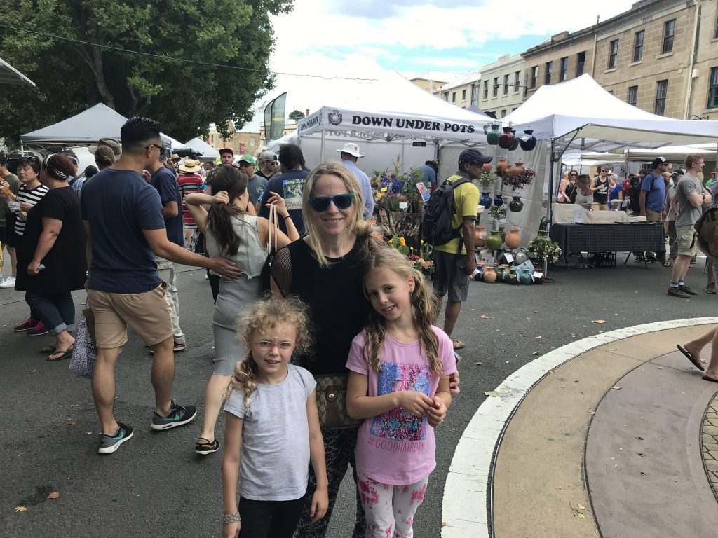us at Salamanca market, Hobart