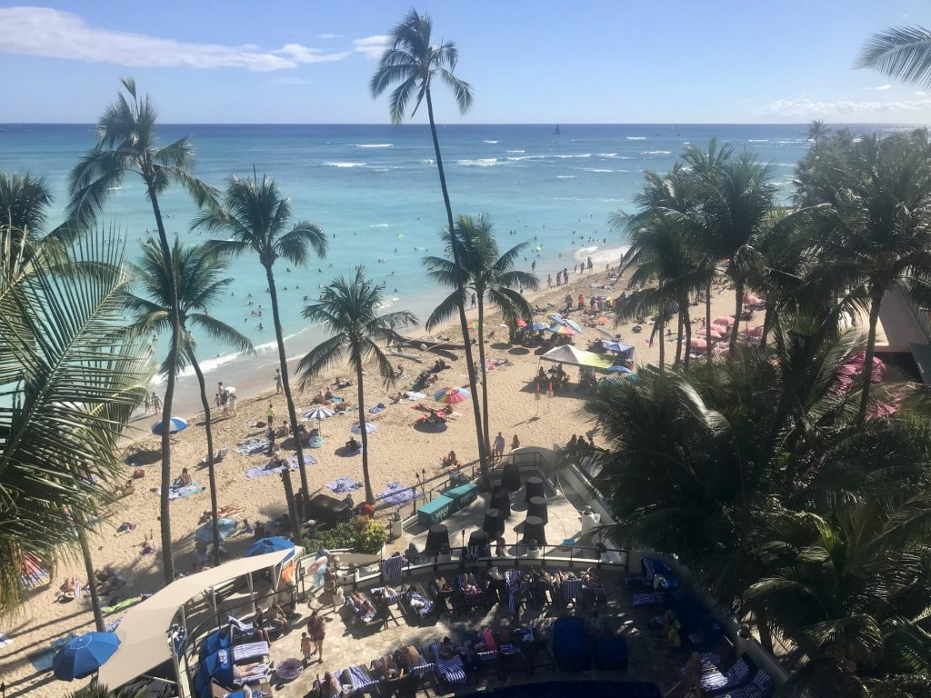 photo of Waikiki Beach from Outrigger balcony