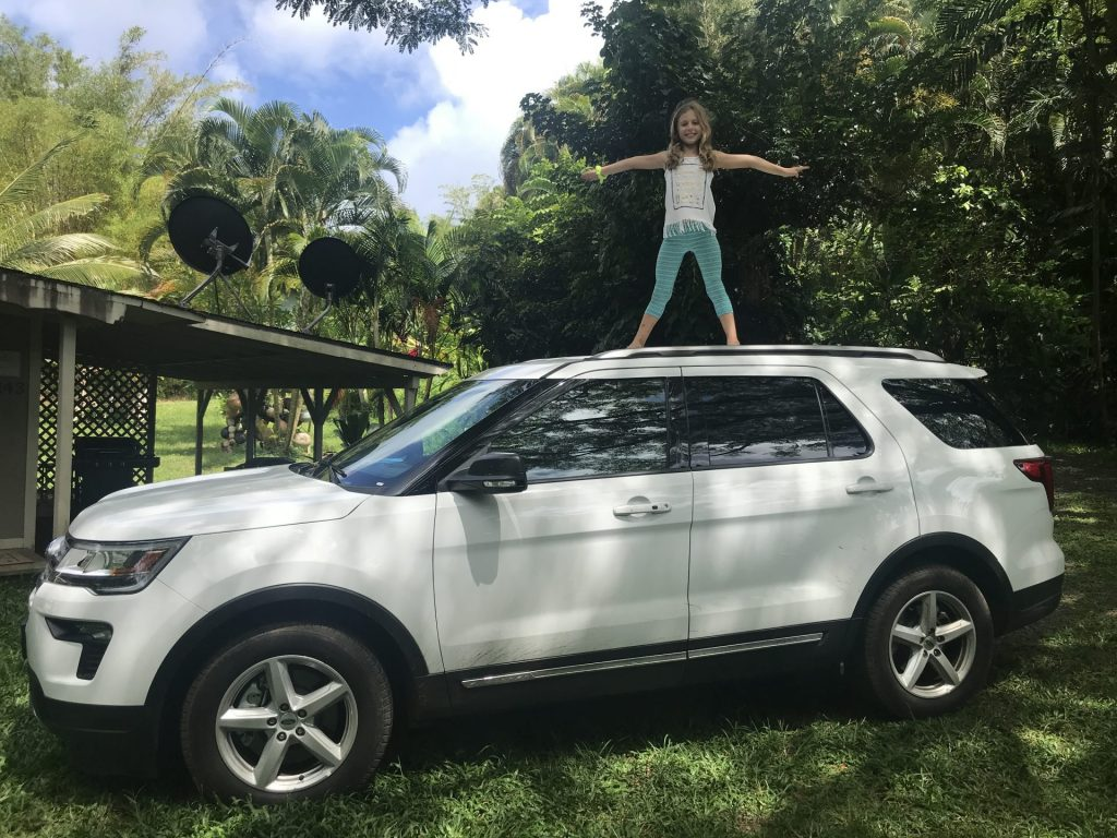 photo of Daisy on car in Hawaii