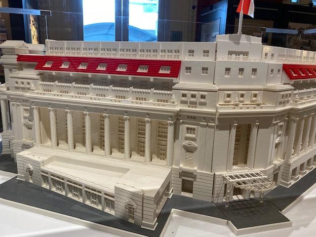 photo of lego model of the Fullerton Singapore